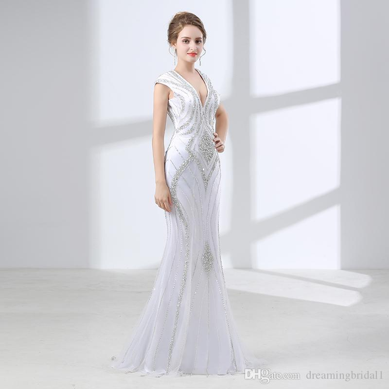 Sexy Backless Mermaid Prom Dresses 2018 New Sleeveless V Neck Floor Length Beading Crystal Formal Evening Party Gown 17-6658