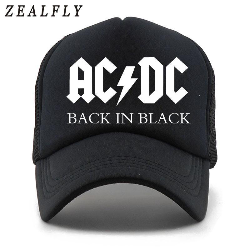 f29df88c5de6c Compre Ventiladores De CA DC Cap Hard Rock Y Heavy Metal Music Cool Trucker  Gorras De Malla Summer Beach Hombres Mujeres Casual Sun Gorra De Béisbol A  ...