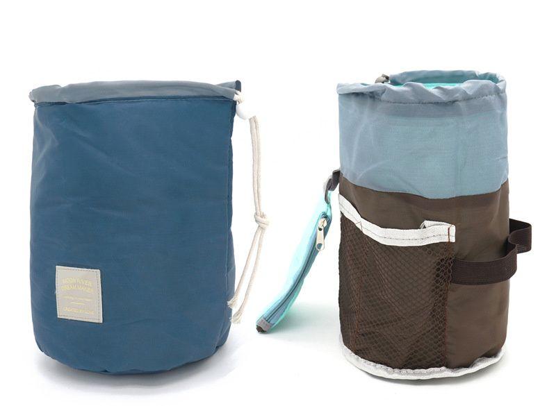 Hot Sale Korean elegant Makeup Bag large capacity Barrel Shaped Nylon Wash Organizer Storage Travel Dresser Pouch Cosmetic Bags For Women