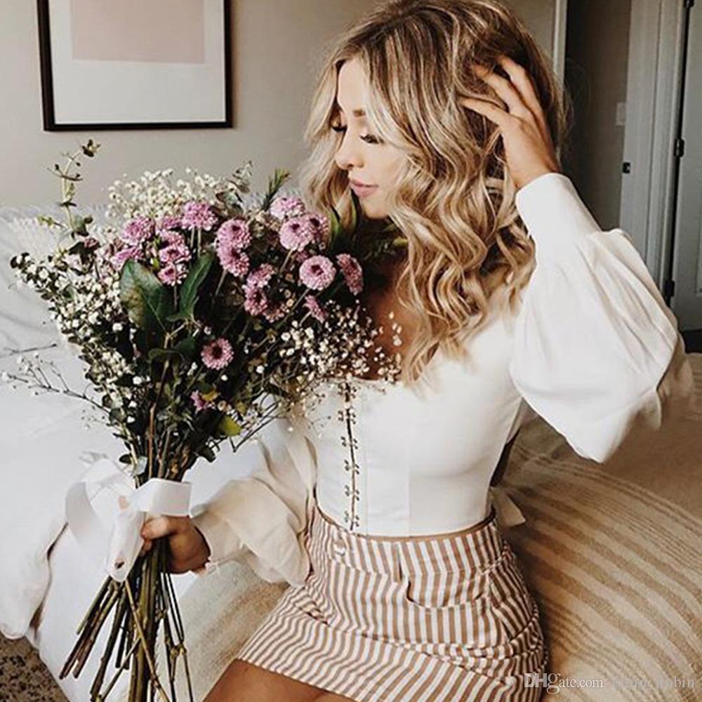 2018 Womens Blouse Sexy Strapless Lantern Sleeve Shirt Bow Waist Shirt Female Off Shoulder Ruffles Bandage Lace Up Bow Shirt Women's Clothing