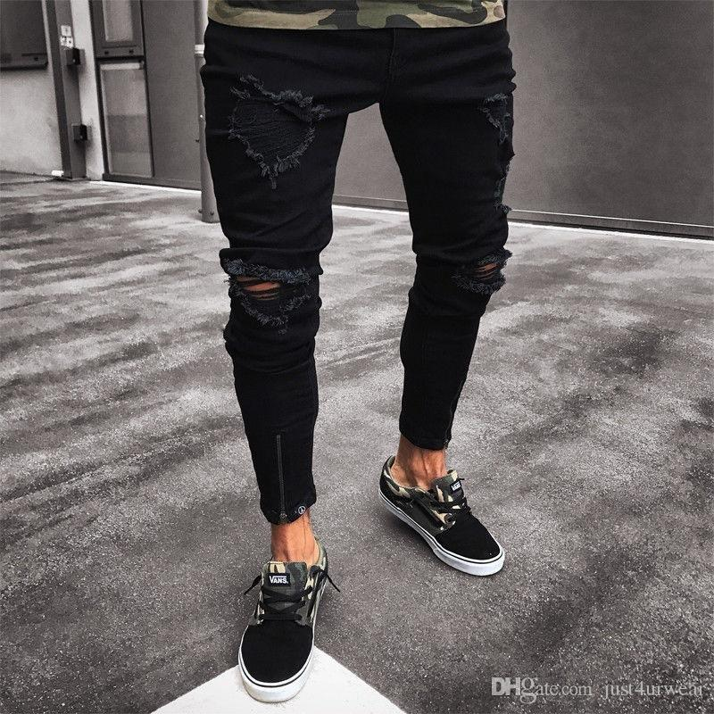 Pantalones negros para hombres Hip Hop Rock Holes Ripped Jeans Biker Slim Fit Zipper Jean Pantalones desgastados