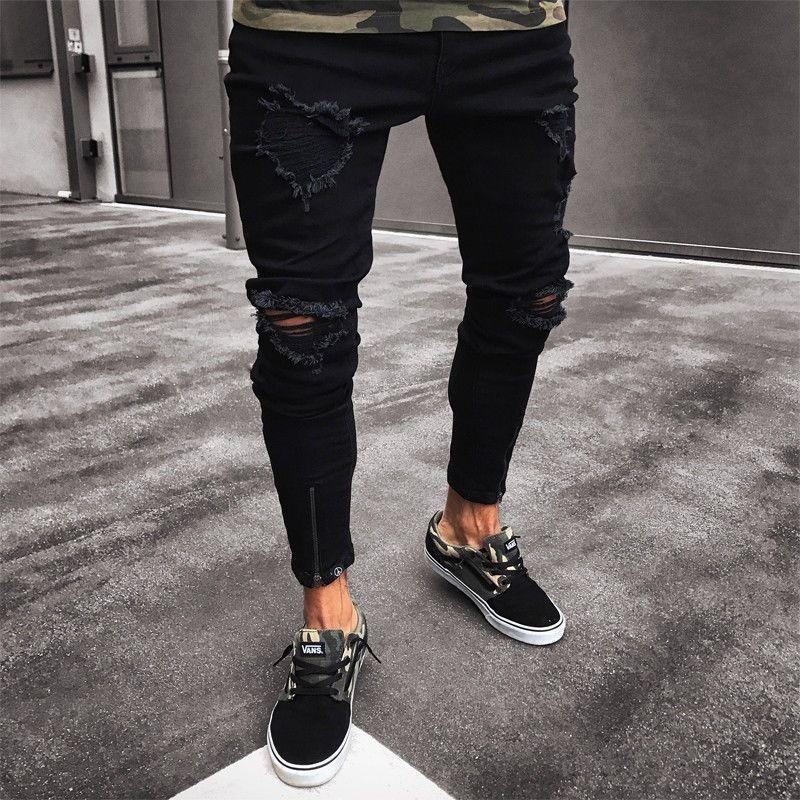 078fe19d37ce68 ... Pantaloni neri uomo Hip Hop Rock Holes Jeans strappati Biker Slim Fit  Zipper Jean Pantaloni attillati ...