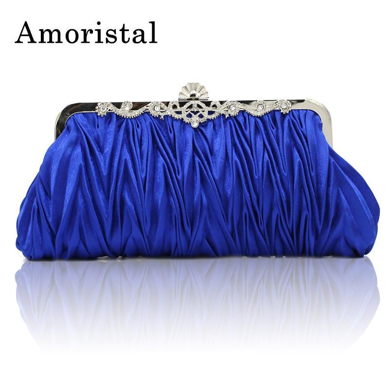 19503c343 Compre Novo Design De Prata Azul Bolsa De Cetim Senhoras Do Vintage Saco De  Noite Mulheres Festa De Casamento De Alta Qualidade Mini Embreagem Com  Cadeia ...