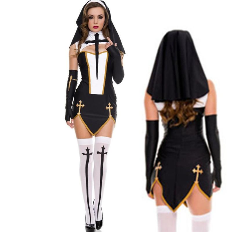 New High Quality Sexy Nun Costume Adult Women Cosplay Dress With Black Hood  For Halloween Sister Cosplay Party Costume UK 2019 From Feixianke 08eb982b1