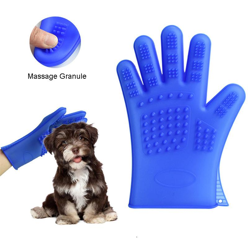 1 Pair Waterproof Pet Grooming Gloves For Cat Dog Hair Cleaning Brush Comb Silicone Bath Massage Glove For Dogs Animals Supplies
