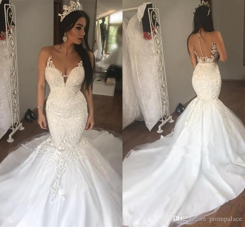 cce063567e Mermaid Wedding Dresses Online Sale For Wedding Party Gowns V Neck Lace  Dress Mermaid Bridal Wedding Gowns With Illusion Back Wedding Dress For  Cheap ...