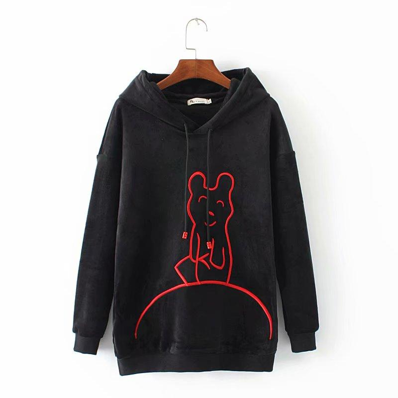 b4ba3332f35 2019 Plus Size Cartoon Embroidered Velour Hoodies Women Casual Black  Sweatshirt 2018 Autumn Winter Hooded Ladies Pullovers 4XL From Harrietai