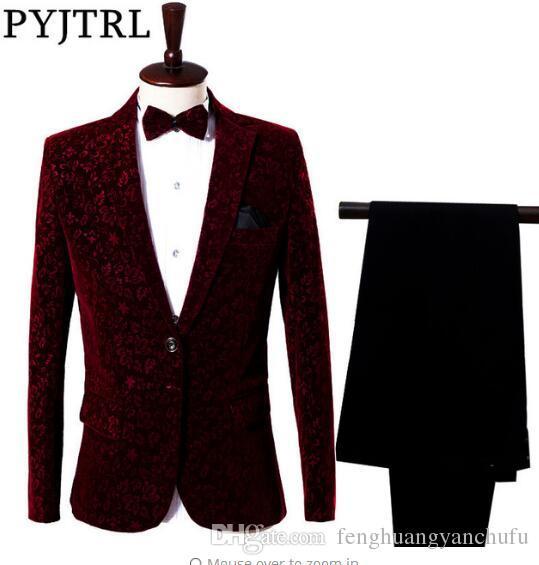 Compre Chaqueta + Pantalones Traje De Hombre Rojo Vestido De Novio Cantante  Maestro De Ceremonias Espectáculo De Escenario Anfitrión Sirve Ropa Trajes  De ... e99c0183a442