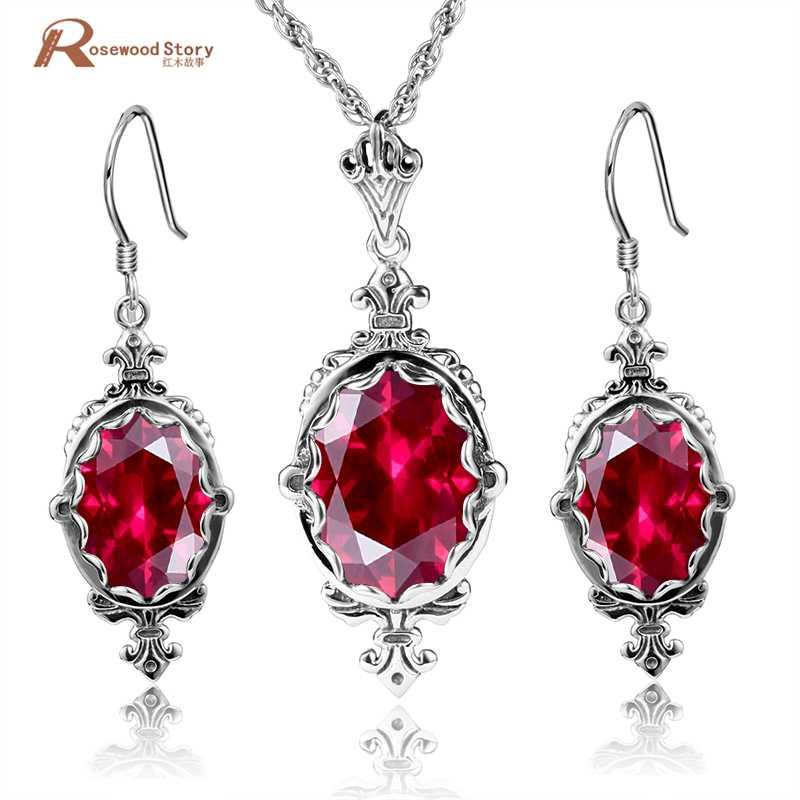 cfb89a94f5f5 Compre Hermosa Princesa Cristal Rojo Rhinestone Mujeres Conjuntos De Joyas  925 Sello De Plata De Ley Pendientes De La Vendimia   Colgante Vestidos De  Novia ...