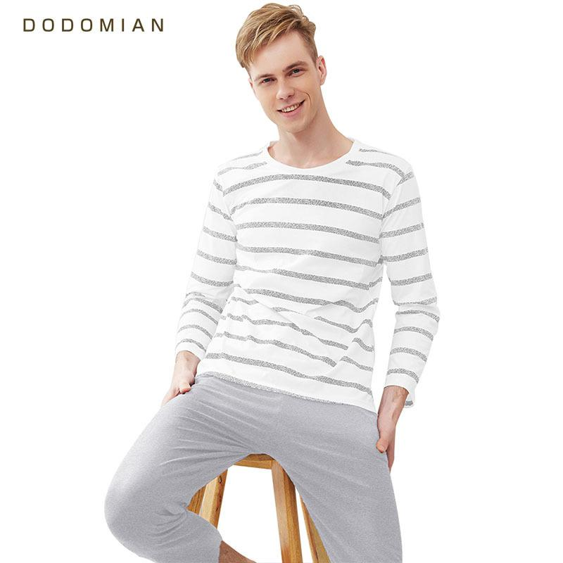 Men Pajama Cotton Gray Striped O-neck Sleepwear Men DODOMIAN Home ... 43cfebe0e
