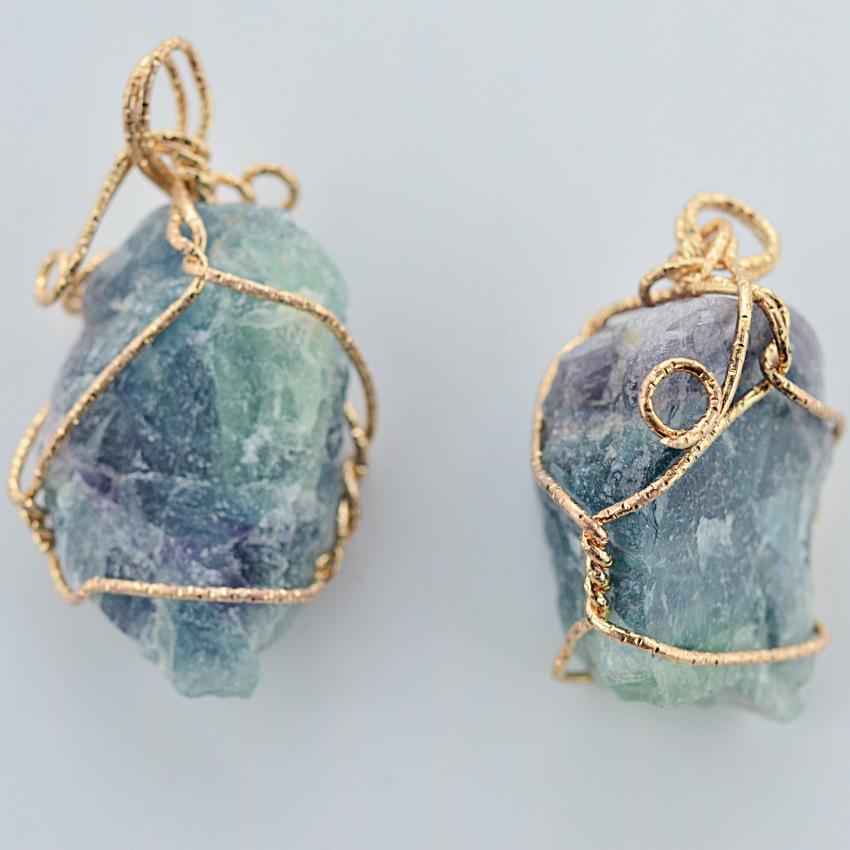 Güzel doğa taş kolye ametist gül kuvars beyaz kristal limon kristal florit charms taş kolye için taş