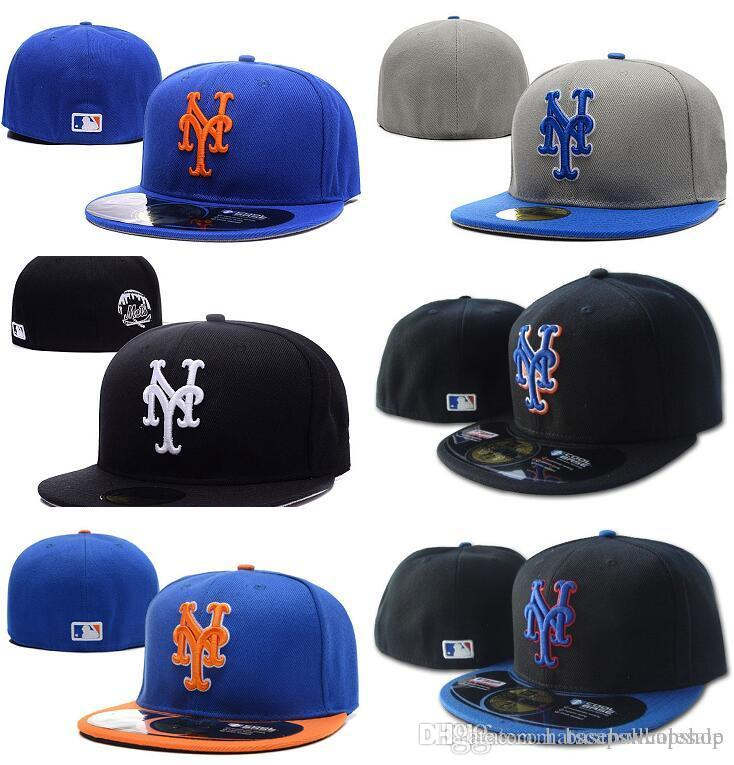 Men s Mets on Field Blue Top Orange Brim Fitted Baseball Hats Sports ... 4d80004c9