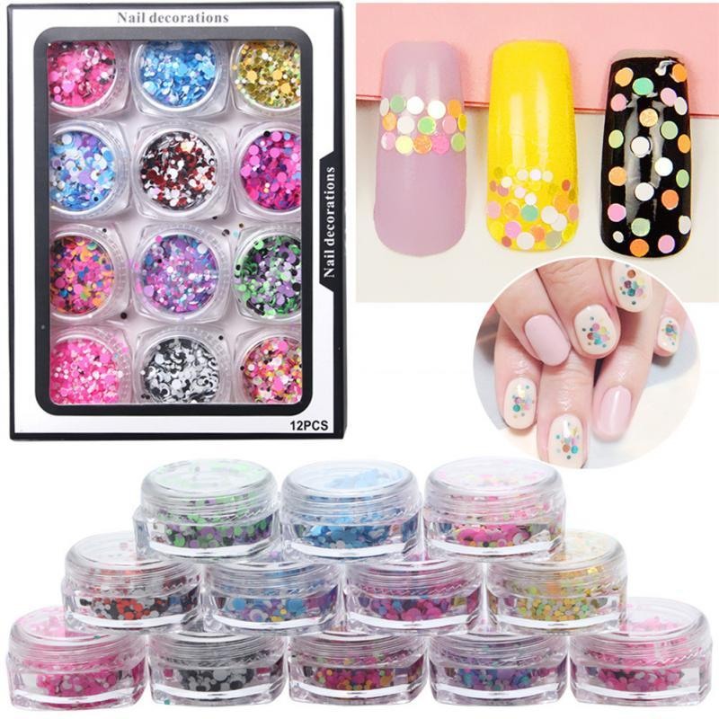 2 Types Nail Art Glitter Round Shape Clear Mixing Color Decoration