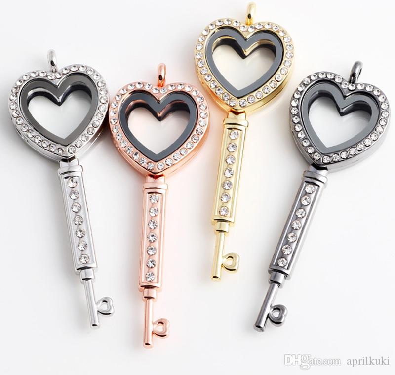 2018 الهدايا العصرية الحب القلب مفتاح زجاج المعيشة الذاكرة العائمة المنجد قلادة قلادة الذهب والفضة diy اليدوية الديكور مفتاح سحر