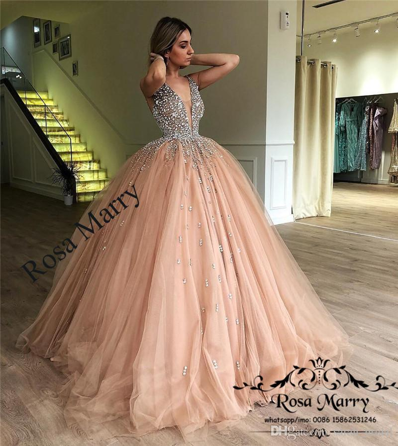 52c4d6e52de Luxury Crystals Ball Gown Prom Dresses 2018 Illusion V Neck Champagne Tulle  Plus Size Sequined Sweet 16 Arabic Dubai Quinceanera Party Gowns Pink Prom  ...