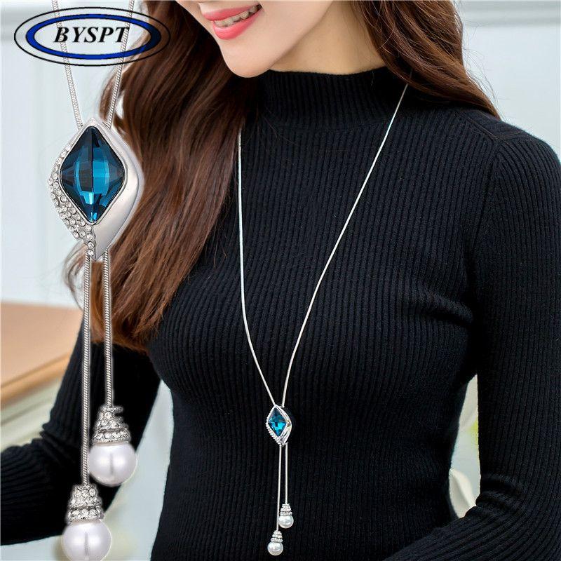 BYSPT Zircone fiocco di neve lunga collana catena maglione Moda fine catena di cristallo di cristallo strass collane ciondolo fiore regolato