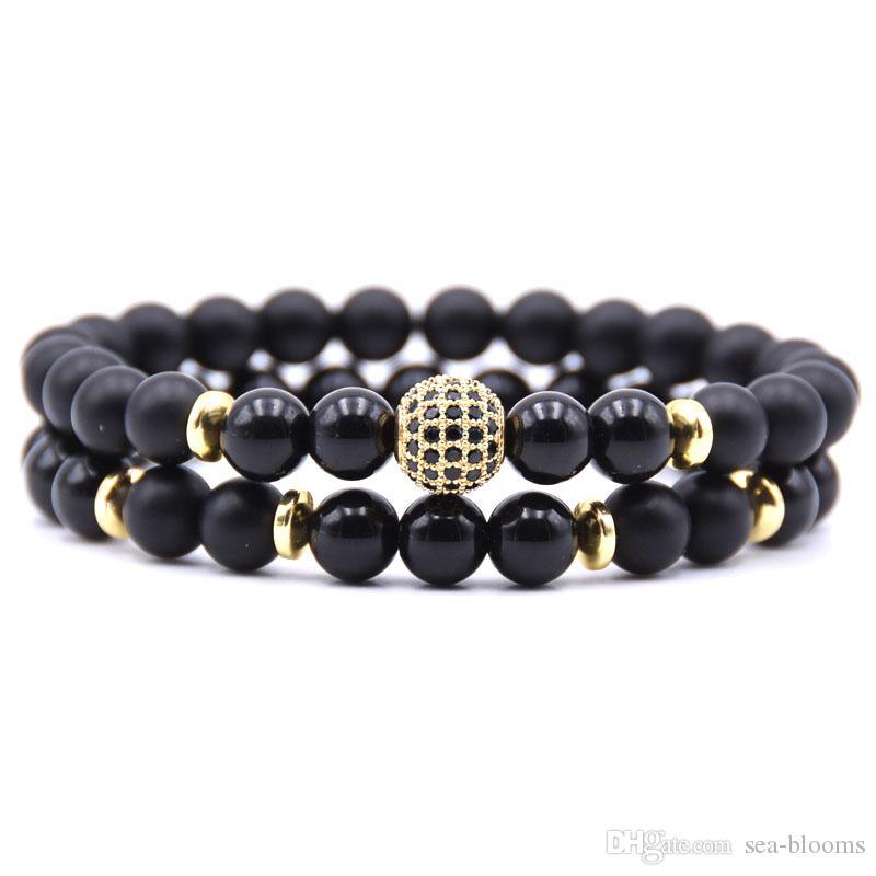 New 8mm Bracelets 5 Colors Women Men Black Small Crown Micro Inlay Zircon Natural Stone Bracelet Buy Now Strand Bracelets Bracelets & Bangles