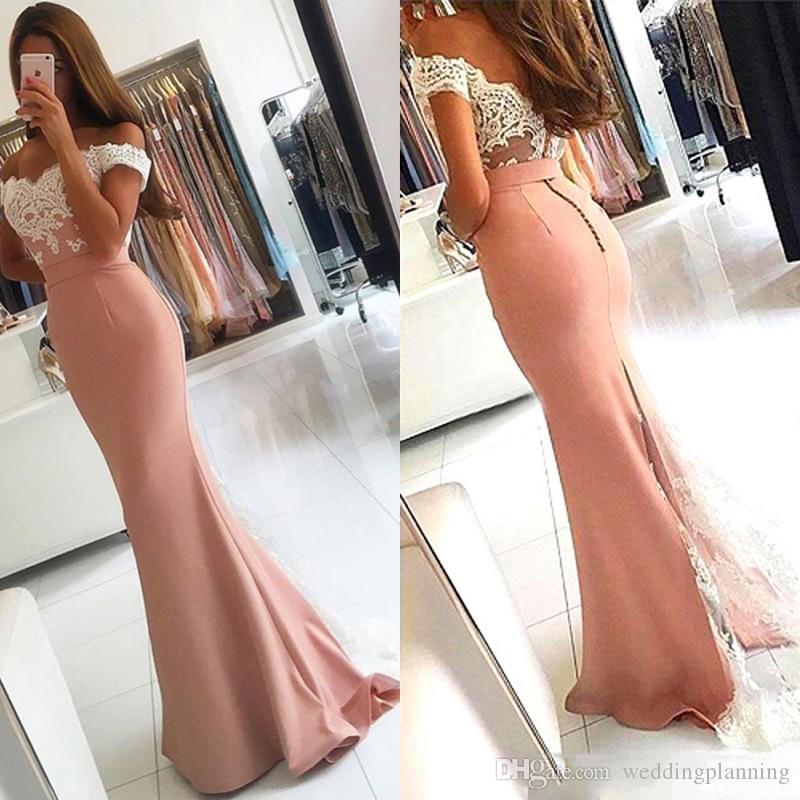 Fábrica 100% imagen real fuera del hombro dusty rosa sirena vestidos de baile largos Arabia Saudita rebordear Appliues vestido de noche largo barato mujeres