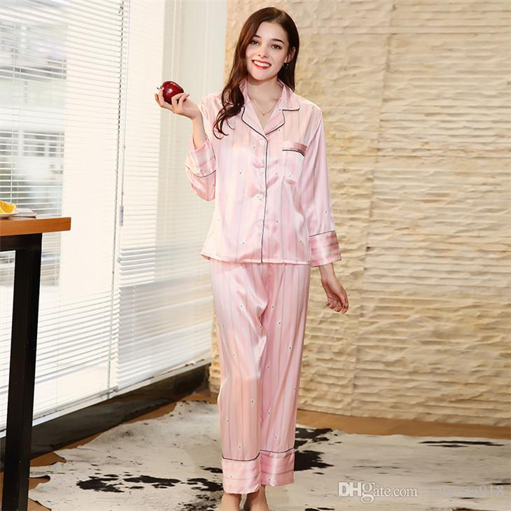 3c1a28077ae Satin Pajama Sets Women Pajamas Suit Girls Sleepwear Female Plus Size Turn  Down Collar Rabbit Print SJYT182 Satin Pajamas Suit Pajama Sets Women  Online with ...