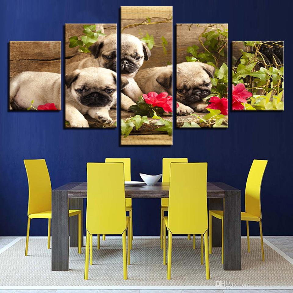 2018 Canvas Modern Art Hd Pictures 5 Panel Animal Dog Green Leaves ...