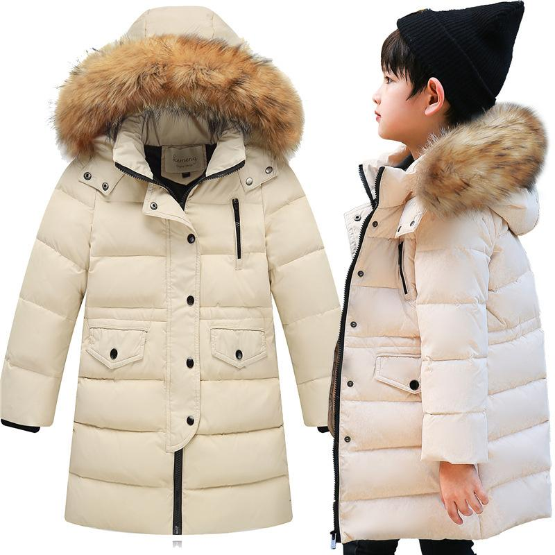 50a5920cb989 30 Degrees Cold Winter Children Thickening Warm Down Jackets Girls Long  Section Hooded Coats Boys Fashion Big Fur Collar Jacket Y18102607 Down  Jackets For ...
