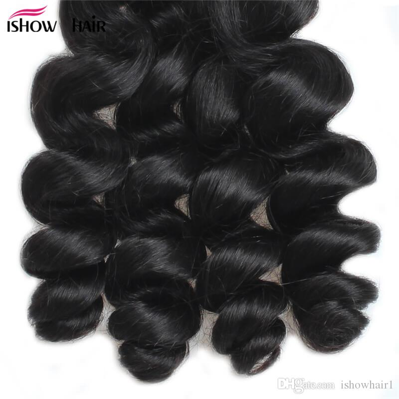 Ishow Hair Big Spring Sales Promotion Buy 3 Bundles Brazillian Loose Wave Unprocessed Peruvian Human Hair Get One Free Closure Free Part