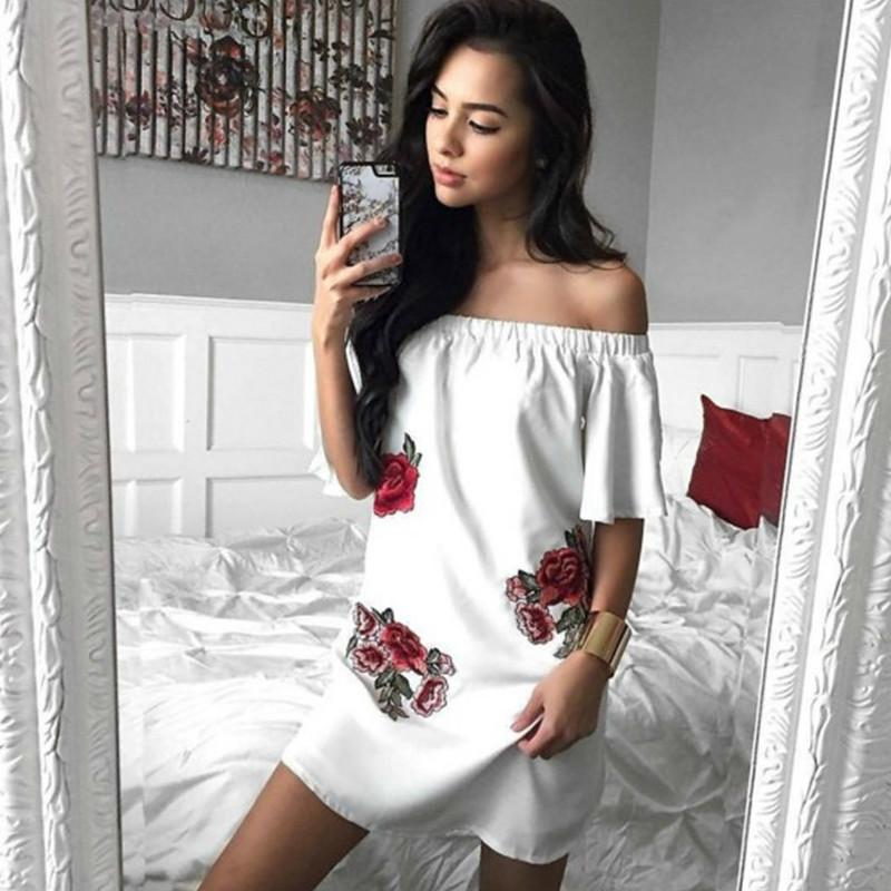 035c6503049 Off Shoulder Embroidery Summer Beach Dress 2018 Women Sexy Short Party  Dresses Floral Boho Casual Dress Beachwear Plus Size Ball Gowns Wrap Dress  From ...