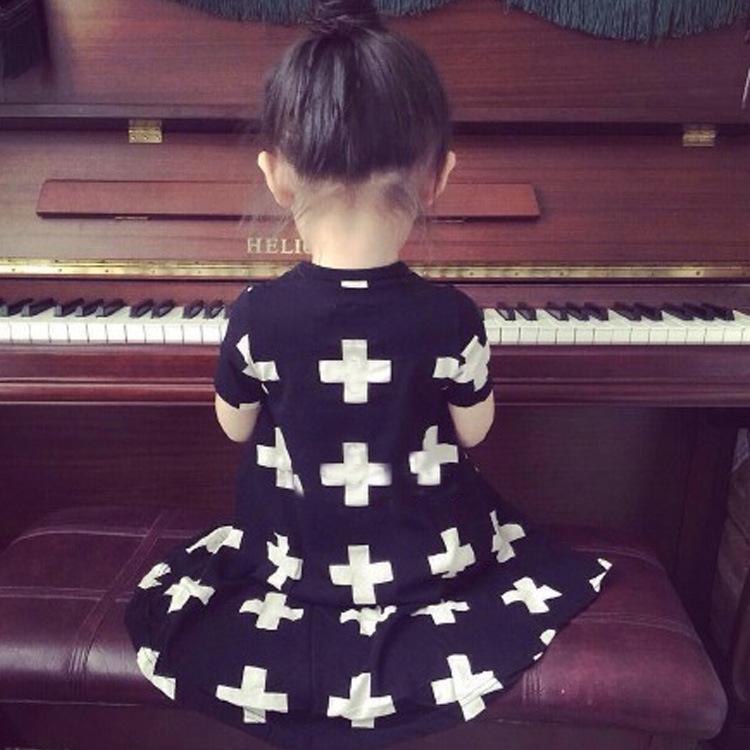 ZIKA Ins Baby Girls Dresses Punk Cross Print Summer Girl Dress Black Toddler Girls Dress For12M-3T Casual Children Girls Clothes