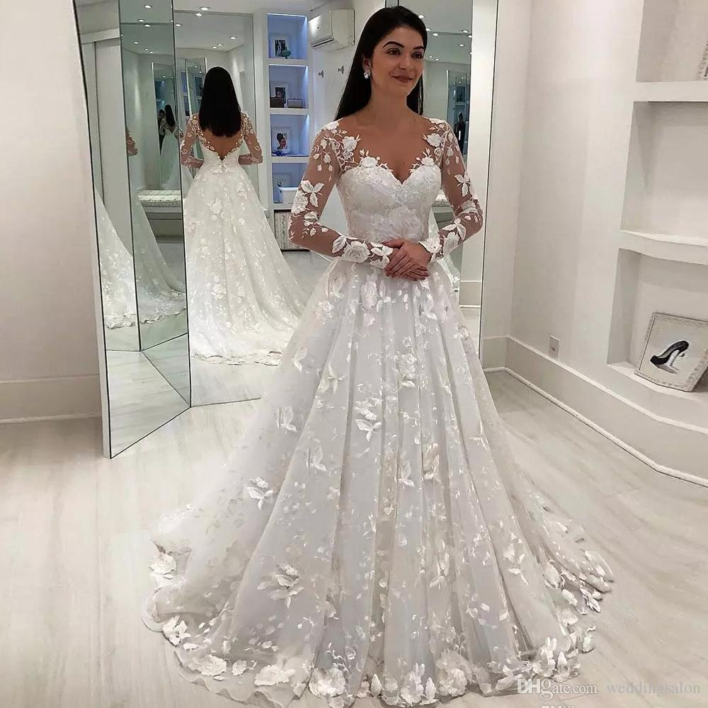 Discount Chic White Retro Lace Wedding Dresses V Neck Long