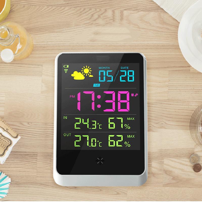 Home Wireless Wetterstation Bunte LCD Digital In / Außentemperatur Luftfeuchtigkeit Meter Snooze Wecker Wettervorhersage Monitor