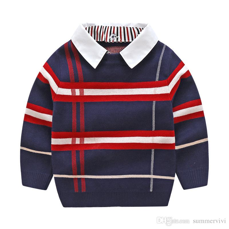 Classic Boys Plaid Sweater Children Lapel Long Sleeve Knitted Stripe