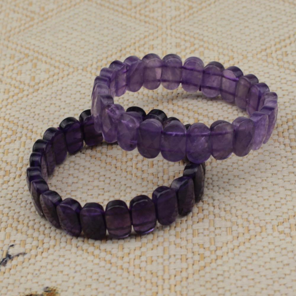 cfe07f5583cf la piedra amatista púrpura rebordea el brazalete natural de la piedra  preciosa de la pulsera para la mujer para la piedra Piscis del nacimiento  del ...