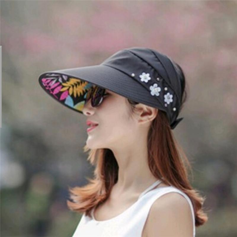 Fashion Sun Hats For Summer Pearl Packable Sun Visor Hat With Big Heads  Wide Brim Beach Hat UV Protection Female Caps Hats In The Belfry Knit Hats  From ... 39e1d8bb6781