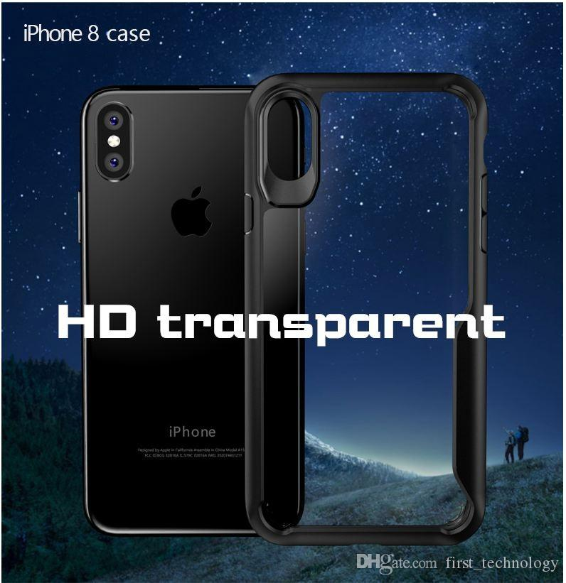 2 in 1 Case for iPhone X Case Acrylic Hard Clear Slim Back Cover for iPhone 6 6s 7 8 Plus Phone Cover
