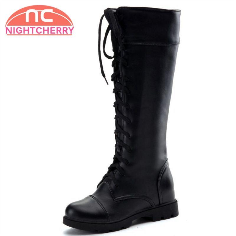 2faf0e3424360 New Fashion Women's Boots Lace Up Knee High Boots Women Martin Flats ...