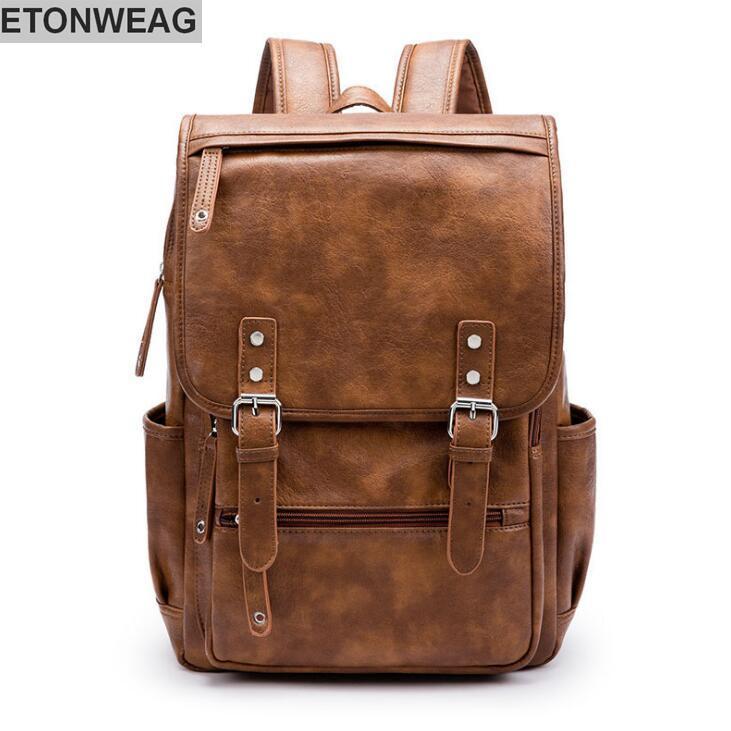 ce9882d89f89 Wholesale Brand Mens Bag Brief Belt Decoration Men S Backpack College Wind Leather  Backpack High Quality Leather Outdoor Travel Backpack Laptop Backpacks ...