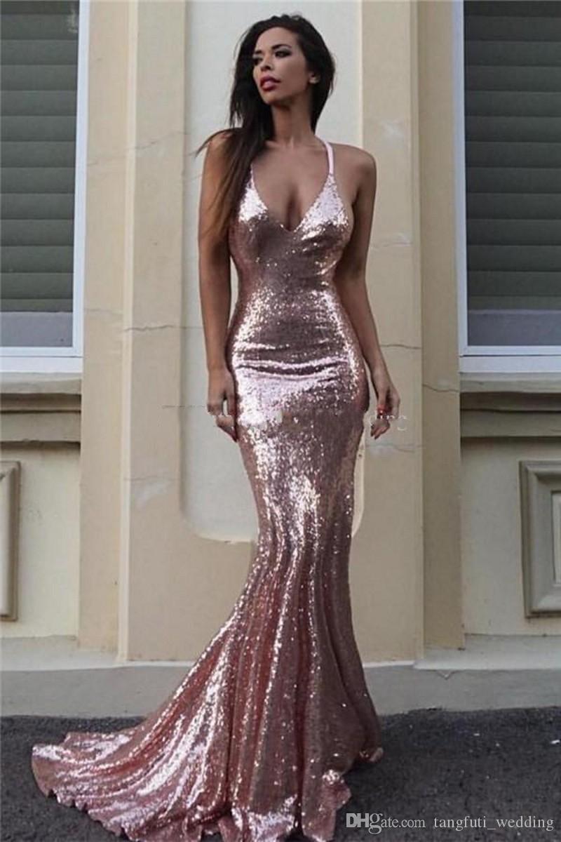 10f375e71 Compre Vestidos De Noche De Sirena De Lentejuelas Rosa Dorado Correas De  Espagueti De Sparkle V Neck Vestidos De Baile De Plata Sin Respaldo Vestidos  De ...