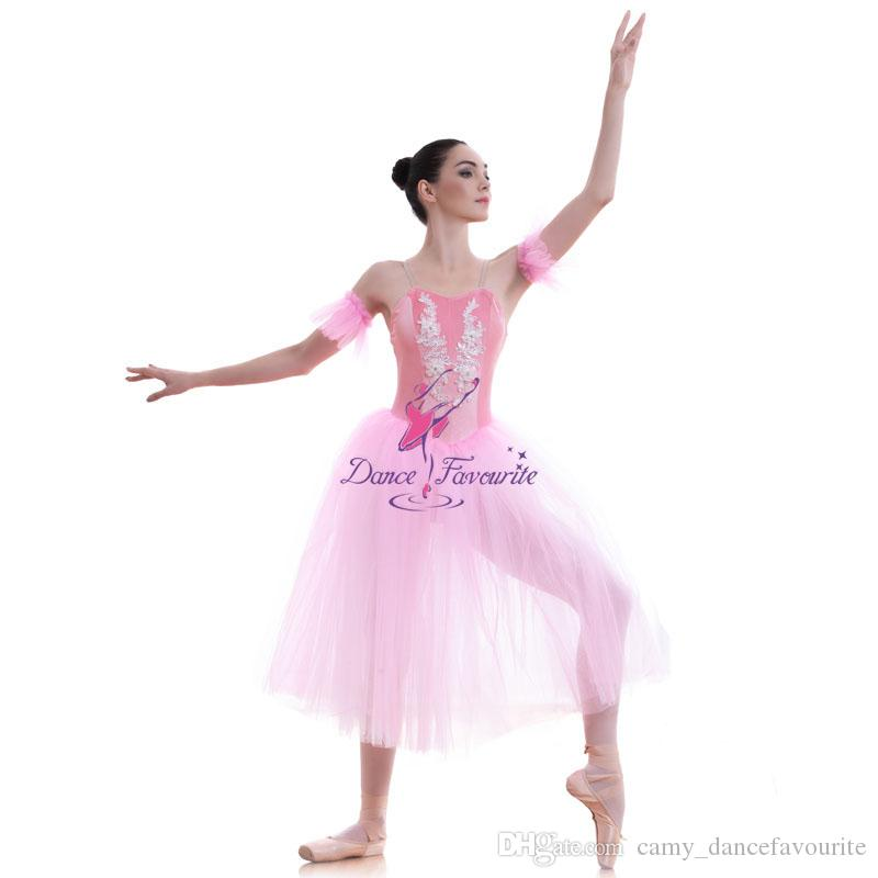 b2854b8bb 2019 Adult Girls Pink Romantic Length Soft Tulle Ballet Dance Tutu ...