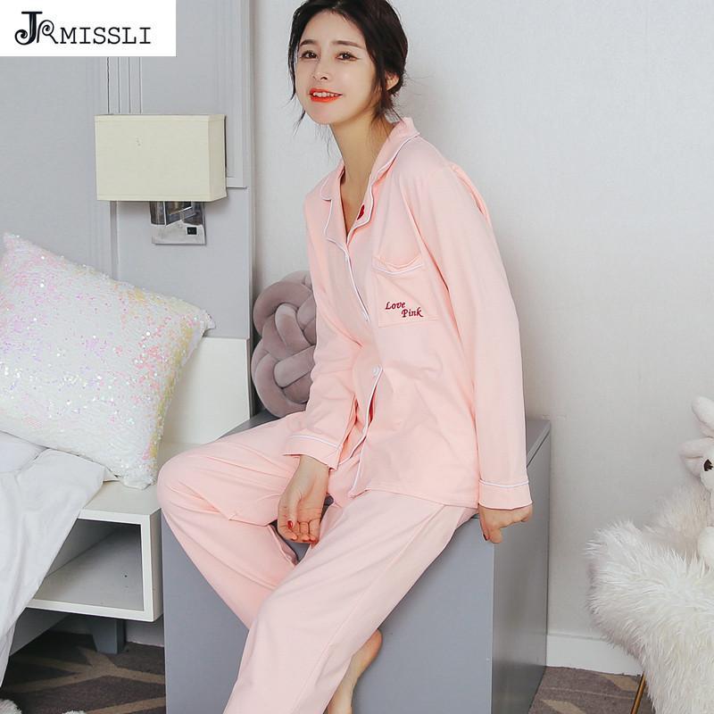 7d4497c7e5 JRMISSLI Autumn Solid 100% Cotton Long Sleeve Crdigan Women Pajama ...