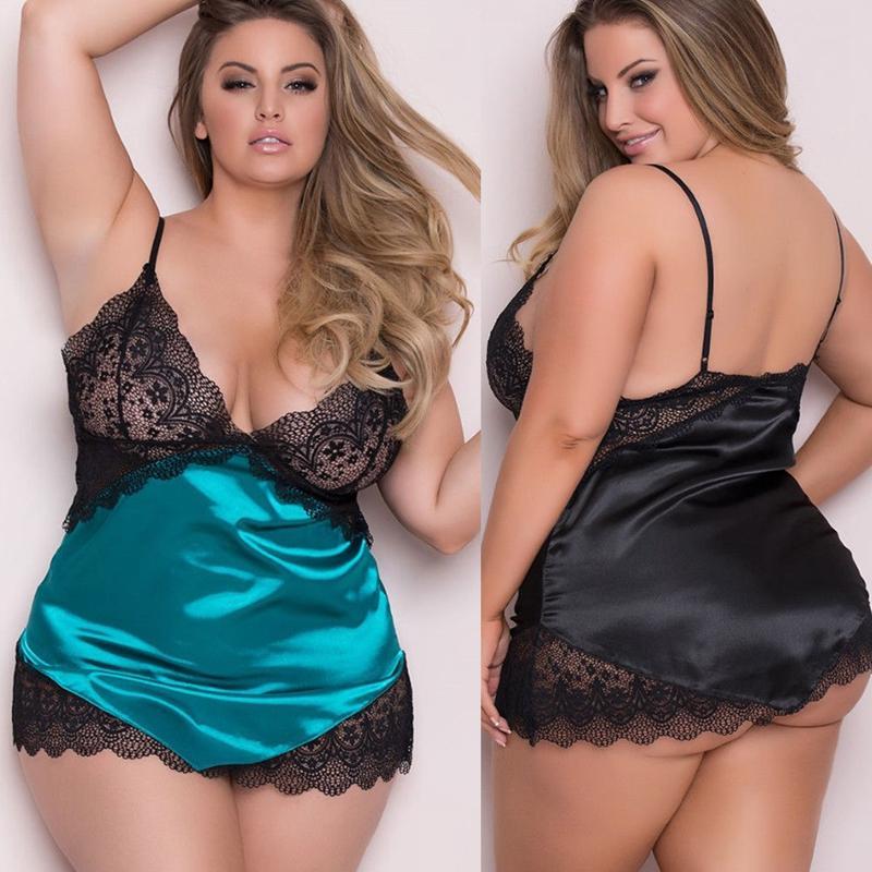 72a25630977 2019 Women Sexy Lingerie Nightwear Sleepwear Lace Babydoll Mini Dress  Underwear Plus Size From Yuedanya