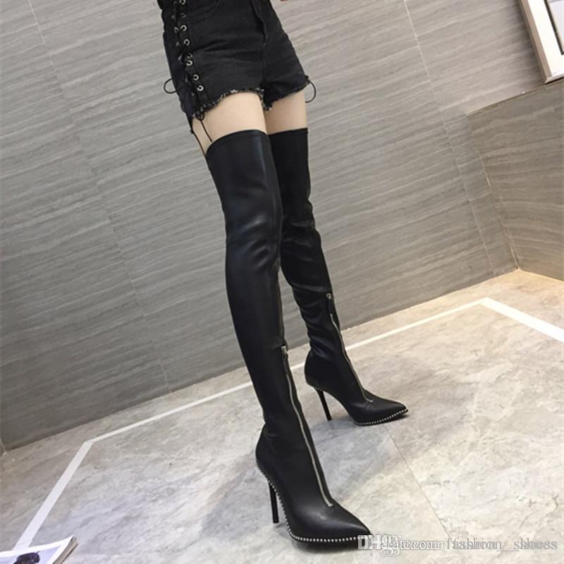 c2b0e4c48ebd0 2018 Winter Neue Frauen Overknee Stiefel Sexy High Heel 10 CM Rindsleder  Stiefel Femme Casual Silhouette Oberschenkel Lange Stiefel Hohe Qualität ...