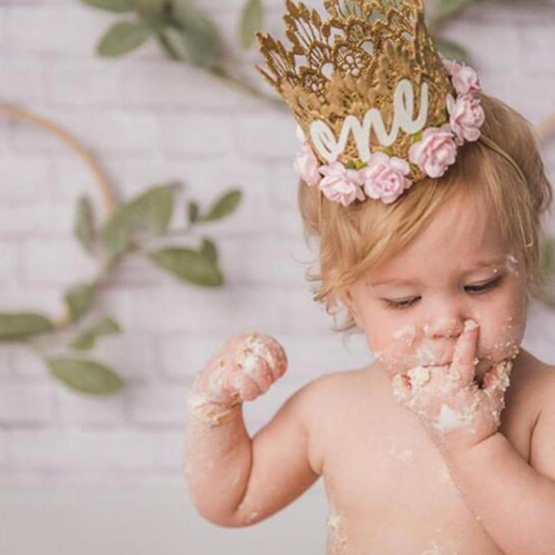 Party Hats Baby One Years Old Birthday Hat Crown Headbands Birthday Party Decoration Hair Decorative #11030