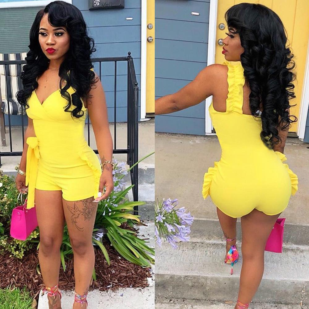 1e227882f0e 2019 Sexy Ruffles Women Playsuit 2018 Sleeveless Autumn V Neck Shorts  Jumpsuit Blue Yellow Club Party Casual Fashion Overalls Outfits From  Lucycloth