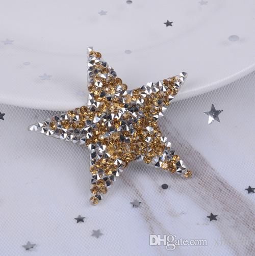 Gold star design crystal hotfix rhinestone motifs iron on transfer rhinestone patches applique for clothing shoe