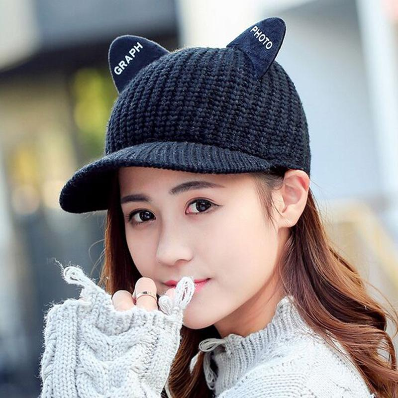 600ca5ee2f4 Winter Women Baseball Cap With Cat Ear Hiphop Fashion Lady Knitted Hat Warm  Gift Hip Hop Female Cap Flat Caps For Men Womens Baseball Hats From Juemin