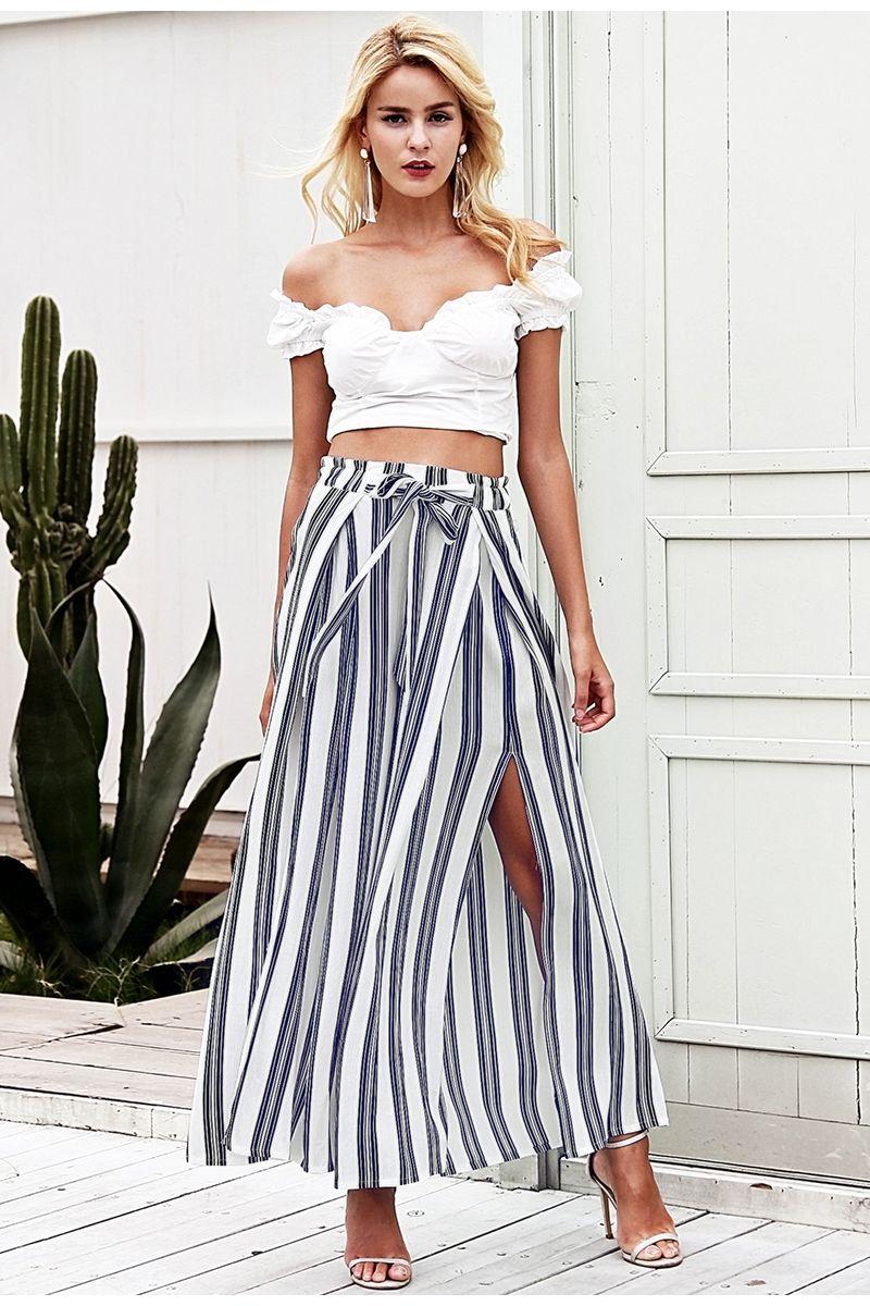 69633d6551a8 2019 High Waist Loose Striped Summer Pants Plus Size Sexy Side Split Women  Bohemian Beach Long Pants Elastic Cotton White Wide Leg Trousers New From  ...
