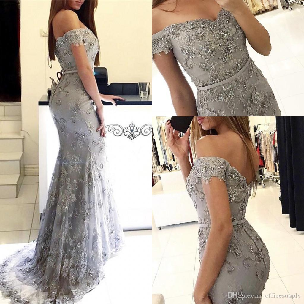 Mermaid Prom Evening Dresses Crystal Appliqued Ribbon Sexy Off the Shoulder Celebrity Gowns Formal Occasion Wear