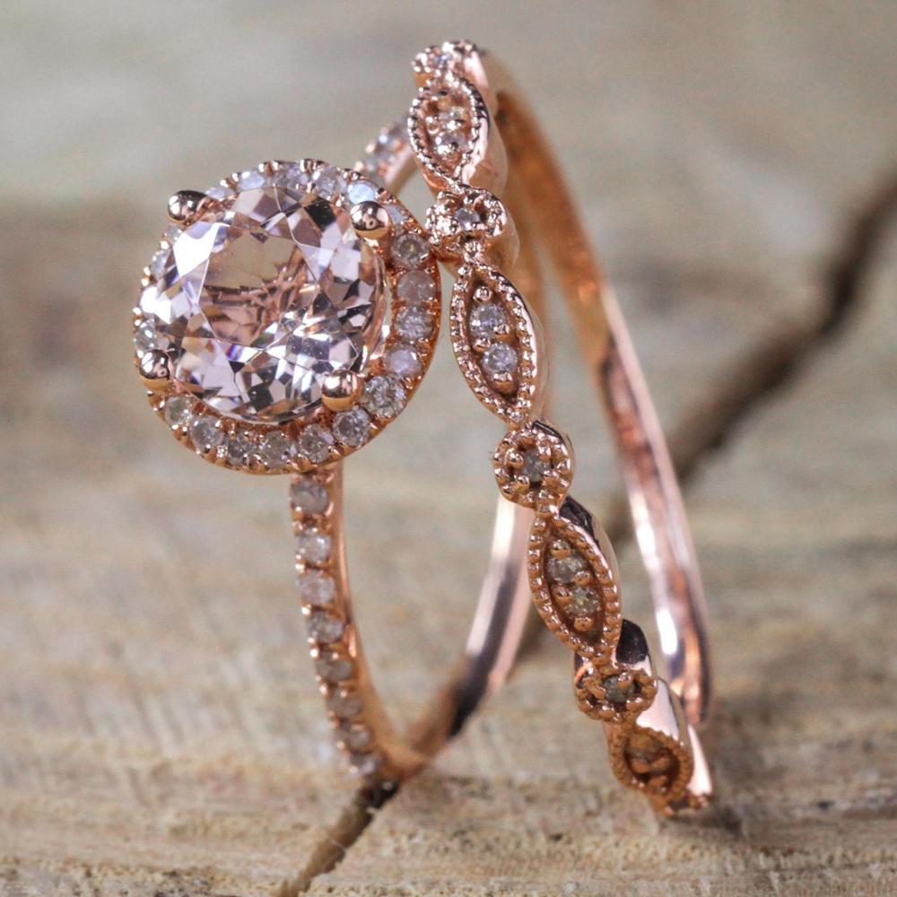 Bagues Rose Zircon Accessoires Les Gold Nouvelles Anneau Bijoux Mariage De Ring Cristal Anneaux Femmes Pour Xk055 Fiançailles Set Filled OP0wnk