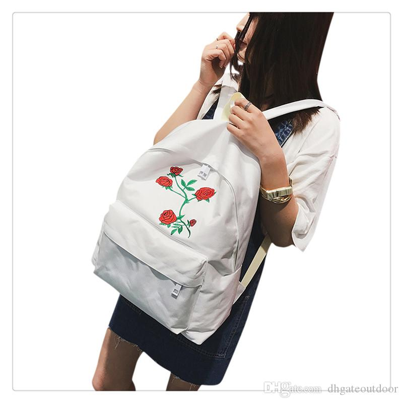 fcfb83508c 2019 Wholesale Rose Embroidery Backpack Women Travel Rucksack Students  Canvas School Shoulder Bag Mochila High Quality And Beautiful From  Dhgateoutdoor