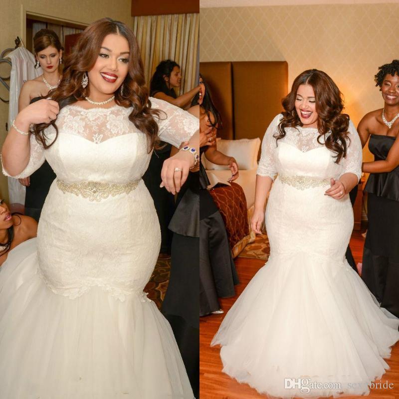 97e39423501f Imagens De Vestidos De Noiva Plus Size Sereia Lace Vestidos De Casamento  Com Mangas Sweep Trem Sashes Beads Vestidos De Noiva Em Camadas Saia  Fishtail ...